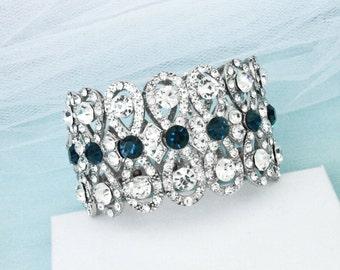 Sapphire blue wedding bracelet, Something blue, Bridal bracelet, Crystal rhinestone bracelet, Bridesmaid bracelet, Wedding jewelry 0113B