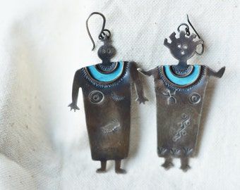 Petrogliph Man and Woman sterling silver large earring, very unique, native american made, southwestern, not too heavy