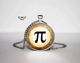 Pi Necklace, Pi symbol pendant, Gift Idea for Her, for Him