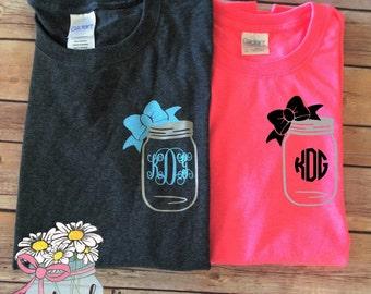 Mason Jar Monogram T-Shirt - Mason Jar Monogram - Mason Jar Monogram Tee- Monogram Mason Jar- Mason Jar Shirt - Monogram T-Shirt - Monogram