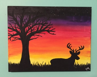 Deer silhouette at sunset - acrylic painting - wall art - 11x14 inch stretched canvas- original artwork