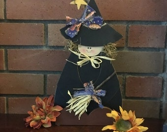 Halloween Witch, Fall Decorations, Witch, Witch with Broom, Halloween Decorations, Halloween Shelf Sitter, Mantle decoration, Shelf decor