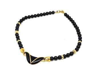 Vintage 1980s Napier Necklace | Vintage Necklace | 1980's Necklace | Black Necklace | Gold Necklace | Beaded Necklace