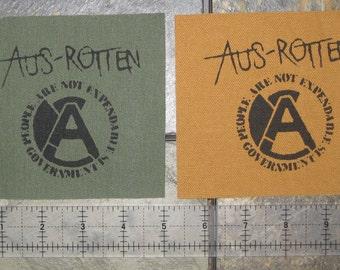 Aus-rotten Patch - DIY Crust Anarcho Punk Rudimentary Peni Amebix Disorder Subhumans Dirt Icons of Filth Crass Nausea Black Flag