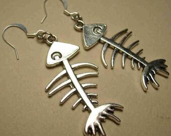 FISH BONES Skeleton EARRINGS Day of the Dead Gothic Punk Biker Metal Alloy Silvertone Statement Day of the Dead Halloween Dia de los Muertos