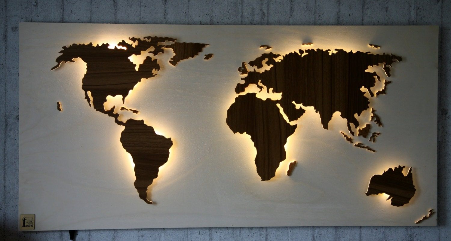 wooden world map illuminated with 3d effect 492 x 24 inch. Black Bedroom Furniture Sets. Home Design Ideas