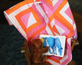 Pink and Orange Quilt,  Bright Playmat, Pink and Orange Quilted Playmat, Quilted Lap Blanket
