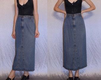 90s faded denim maxi long skirt