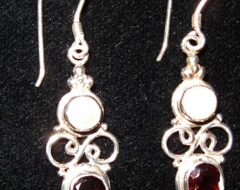 Garnet and pearl sterling silver drop earring