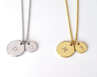 Personalized Two Gold, Silver Circle Initial Necklace, Custom Mother Daughter letter Necklace, His and Hers Initial necklace