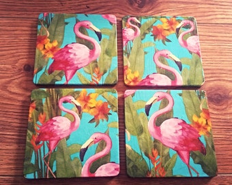 Flamingo coasters, coaster set, gift for her, bright coasters, flamingoes, birds, home decor, summer, birthday gift, handmade