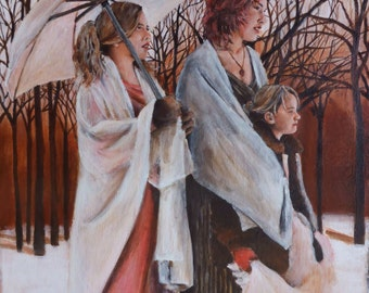 small figurative acrylic painting - gypsies - original acrylic painting by professional portrait artist Anita Dewitt