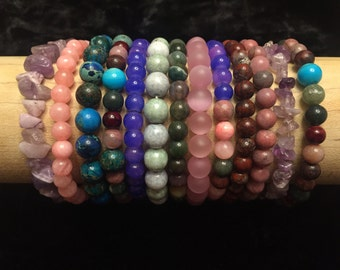 Solid And Multi-Colored Beaded Stretch Bracelet