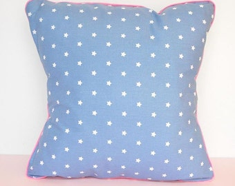 Cushion cover - printed star with Fluorescent Pink piping