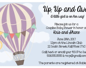 Up, Up and Away - Hot Air Balloon - Baby Shower