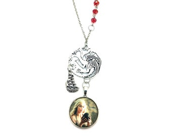 "Daenerys Targaryen Game of Thrones Inspired Glass Dome Beaded Charm 24"" Chain Necklace Silver Tone"
