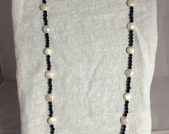 Black Onyx and White Coin Pearl 29 in Necklace