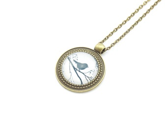"Cabochon necklace ""Birds on branch"" 70 cm bronze"