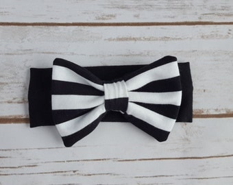 Black and White striped knit bow headband