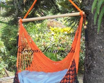 Orange and black chair hammock handwoven _ Swing chair_Cotton _Handmade in Nicaragua_Home decor_
