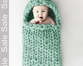 SALE! Baby Sleep Bag Knit Merino Wool 21 microns Color Mint. Newborn Sleep Bag Case Knitted Wool Cocoon. For the baby age 0-2 months