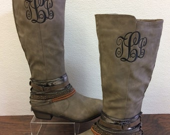 TAUPE ZOEY boot Monogramed, Personalized Women's Shoes, Embriodered, Custom Monogramming,Zoey Boots
