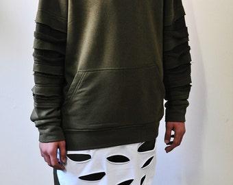 Khaki Olive Disstressed Kanye C-Neck White Layer Hem Sweatshirt
