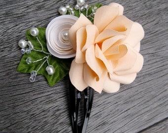 Peach Paper Flower Hair Clip/ Barrette