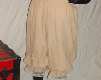 Plus tea stain muslin pantaloons with off white lace trim