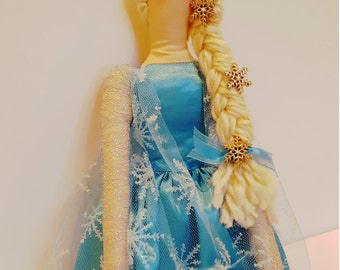 Handmade Ice princess Tilda doll, soft stuffed cloth doll, 22 inches tall, unique one of a kind Christmas gift for girls, made in the USA