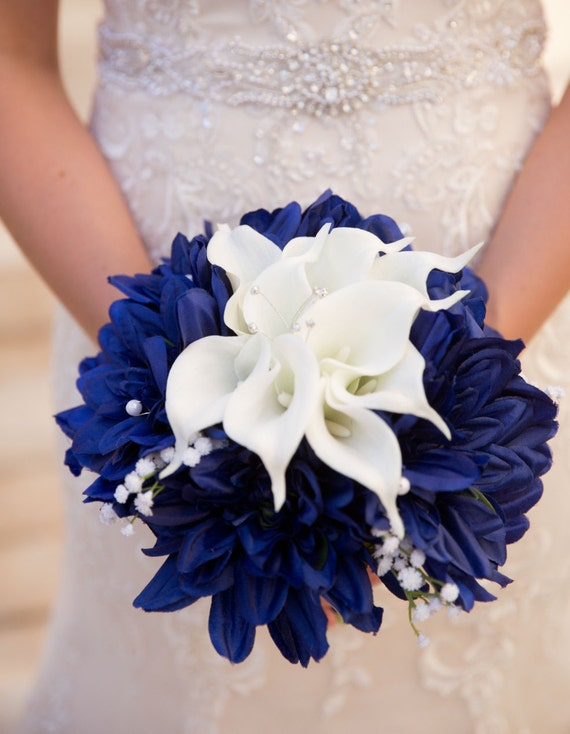 Navy Blue And White Wedding Bouquets : Blue white bouquet nautical navy