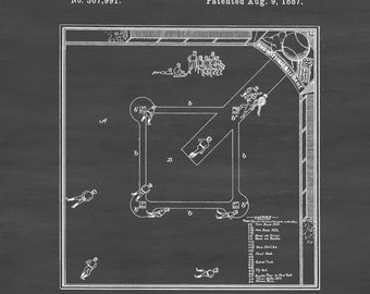 Baseball Game Patent - Patent Print, Wall Decor, Baseball Art, Baseball Patent, Baseball Fan Gift, Baseball Blueprint, Baseball Field