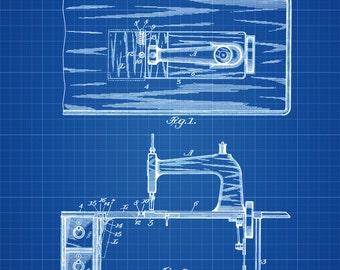 Sewing Machine Table Patent - Sewing Room Decor, Craft Room Decor, Tailor Decor, Vintage Sewing Machine, Sewing Machine Blueprint