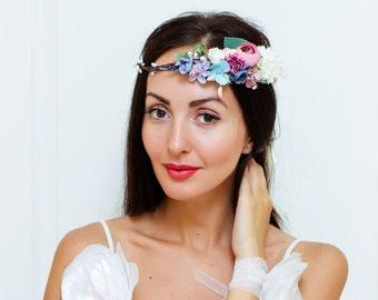 Flower crown Flower hair wreath  Bridesmaid flower crown Floral crown Boho floral crown Wedding flower crown Flower halo