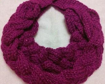 Handmade crochet double layered braided cowl