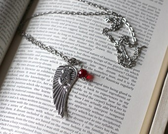 Birthstone pendant necklace, Birthstone Angel wing Pendant necklace