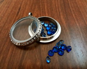BLUE Crystals Floating Charms, SET OF 6 Gems, Living Memory Locket Charm, Jewelry