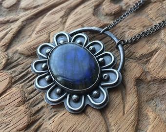 Labradorite Flower Necklace