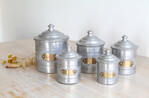 reserved b vintage aluminum kitchen canisters french