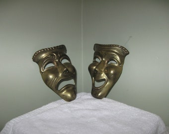Brass Comedy and Tragedy Theater Masks