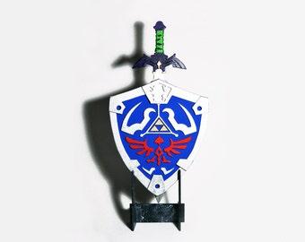 Wood decoration Legend of Zelda Hylian shield and Master sword. Nintendo, game, gamer, videogame. Geek, nerd. Handmade, ornament. Home decor