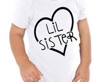 Lil sister shirt, little sister bodysuit, little sister with heart, baby shower gift