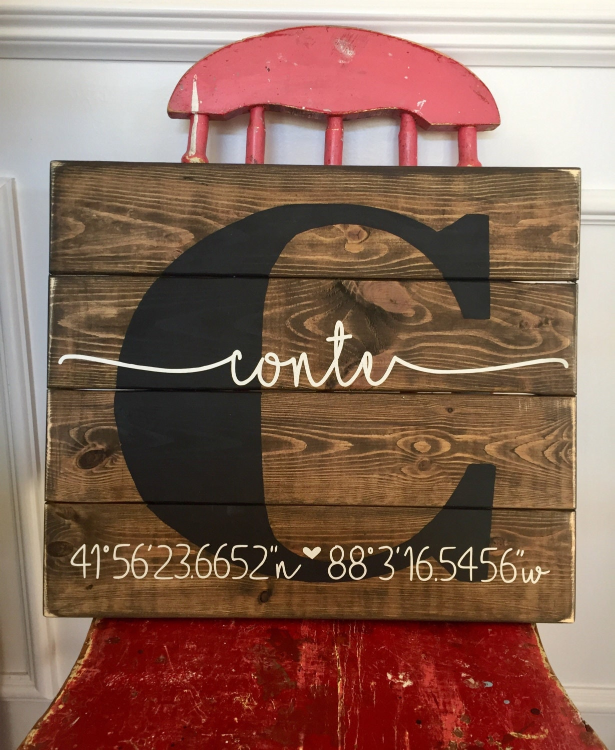 Personalized latitude longitude sign gps coordinates sign for New home diy