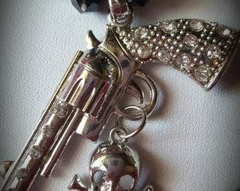 Rhinestone Bling Gun Pistol Revolver Necklace Bracelet Earrings - Costume Jewelry