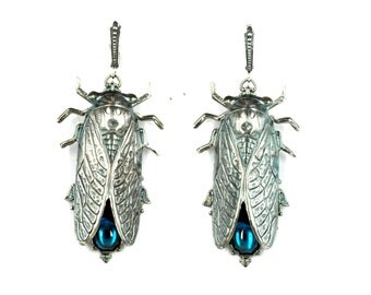 Cicada earrings Cicada jewelry filigree silver earrings silver plated red stones vintage earrings beetle earrings insect jewelry Cicadas