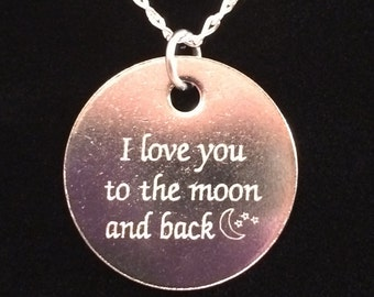 I love you to the moon and back-Sterling Silver-Mother's Day-Engraved-Moon and stars-Heart Clasp