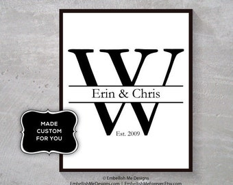 8x10 Customized, Letter, Initial, Wedding, Anniversary Gift, Unique, One-of-a-kind, Printable