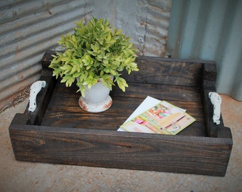 Wood Tray, Serving Tray - Rustic Home Decor / Breakfast Tray / Wine Tray / Coffee Table  - Wedding Gift, Housewarming Gift, Reclaimed Wood