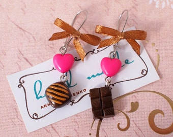 Sweet earrings Tiny chocolate and candy earrings Earrings with brown caramel bows Rose hearts earrings Coffee lovers Tasty earrings