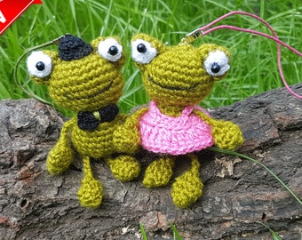 Green Crochet Frog Amigurumi Frog Toy His and Hers Crochet Toy plush toad gift for couple Keychain couples stuffed Animals knitted gift